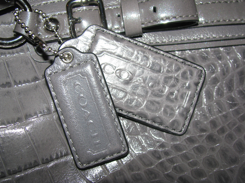 Coach MADISON EMBOSSED CROC LINDSEY SATCHEL in silver