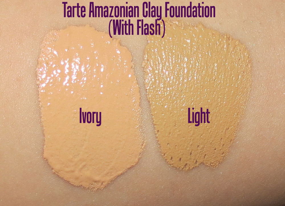 Tarte Amazonian Clay 12-Hour Full Coverage Foundation swatches in Ivory