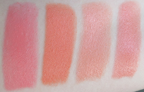 MAC All About Orange Collection  swatches- Flamingo, Sushi Kiss, Sweet & Sour, Razzlerdazzer
