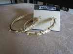 R.J. Graziano Gold Crystal Studded Hoop Earrings